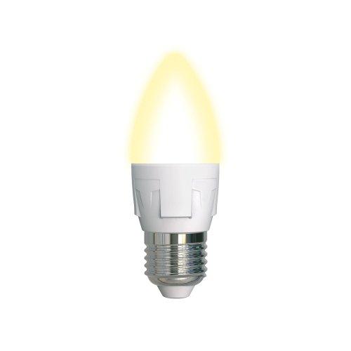 LED-C37 7W-WW-E27-FR PLP01WH Лампа светодиодная. Форма свеча. матовая. Серия ЯРКАЯ. Теплый белый свет 3000K. Картон. ТМ Uniel