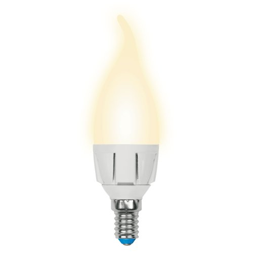 LED-CW37 7W-WW-E14-FR PLP01WH Лампа светодиодная. Форма свеча на ветру. матовая. Серия ЯРКАЯ. Теплый белый свет 3000K. Картон. ТМ Uniel