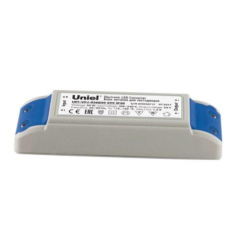 UET-VPJ-036B20 24V IP20 Блок питания с защитой от короткого замыкания и перегрузок. 36 Вт. Пластиковый корпус. TM Uniel
