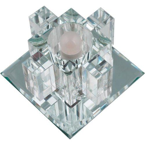 DLS-F117 G9 GLASSY-CLEAR Светильник декоративный встраиваемый ТМ Fametto. серия Fiore. Квадратный. Без лампы. цоколь G9. Основание стекло. цвет зеркальный. Отделка кристалл. цвет прозрачный.