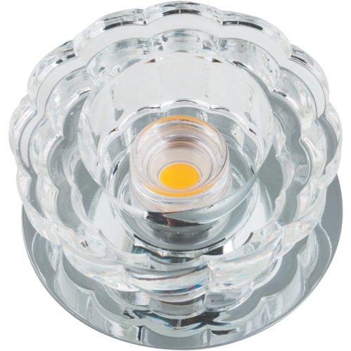 DLS-F301 10W CHROME-CLEAR Светильник декоративный встраиваемый светодиодный 10Вт ТМ Fametto. серия Fiore. Основание металл. цвет хром. Отделка кристалл. цвет прозрачный.