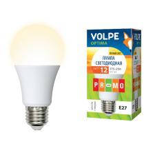 LED-A60-12W-WW-E27-FR-O Лампа светодиодная. Форма A. матовая колба. Материал корпуса пластик. Цвет свечения теплый белый. Серия Optima. Упаковка картон. ТМ Volpe