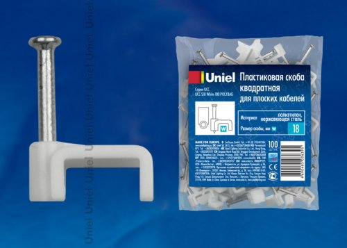 UCC-S18 White 100 POLYBAG Пластиковая скоба для плоских кабелей Uniel. тип квадратный. размер 18мм. цвет белый. 100 шт-пакет