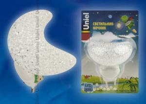 DTL-309-Месяц-WHITE-1LED-0.1W Светильник-ночник. Выключатель на корпусе. Блистер