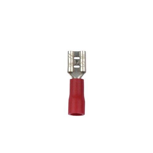 UTC-E-4F A1 RED 100 POLYBAG Наконечник клеммный изолированный тип E розетка. Ширина контактной части 5.6 мм. Диапазон сечения присоединяемого провода 0.5 1.5 кв.мм. Способ присоединения обжимка инструментом. Цвет красный. Упаковка 100 шт в пакете.