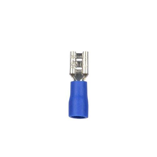 UTC-E-4F B1 BLUE 100 POLYBAG Наконечник клеммный изолированный тип E розетка. Ширина контактной части 5.6 мм. Диапазон сечения присоединяемого провода 1.5 2.5 кв.мм. Способ присоединения обжимка инструментом. Цвет синий. Упаковка 100 шт в пакете.
