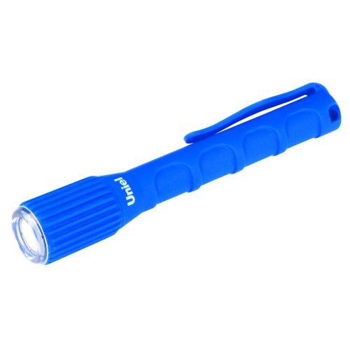 S-WP010-C Blue Фонарь Uniel серии Стандарт Reliability and protection. прорезиненный корпус. IP67. 0.5 Watt LED. упаковка кламшелл. 2хААА н-к. цвет синий