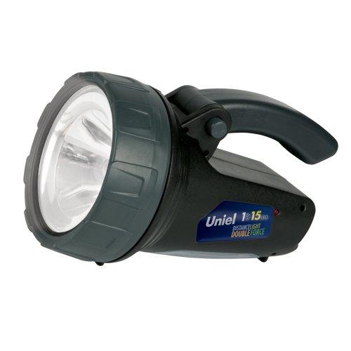 S-SL017-BA Black Фонарь TM Uniel. серия Стандарт Distance light Double force. Пластиковый корпус. 1W LED + 15 LED. 3.7V. 1000mAh Lithium. Упаковка цветной короб.