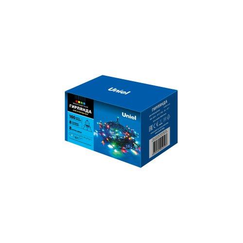 ULD-S0800-100-DGA MULTI IP20 Гирлянда светодиодная с контроллером. 100 светодиодов. 8 м. разноцветная. IP20. провод зеленый