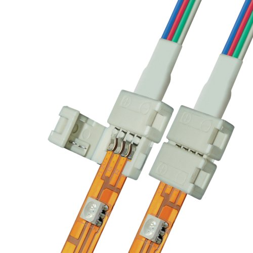 Коннектор провод для соединения светодиодных лент 5050 RGB с блоком питания. 4 контакта. IP20. цвет белый. 20 штук в пакете