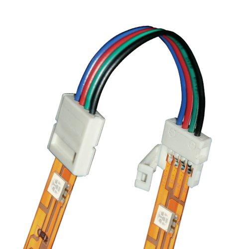 Коннектор провод для соединения светодиодных лент 5050 RGB между собой. 4 контакта. IP20. цвет белый. 20 штук в пакете