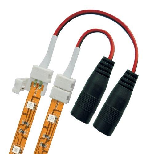 Коннектор провод для соединения светодиодных лент 5050 с адаптером стандартный разъем. 2 контакта. IP20. цвет белый. 20 штук в пакете