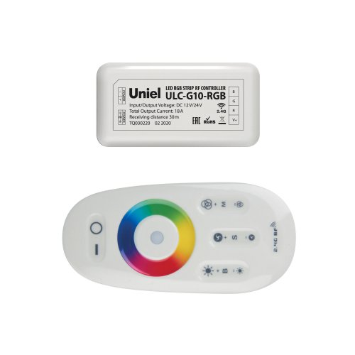ULC-G10-RGB WHITE Контроллер для управления многоцветными светодиодными источниками света 12-24B с пультом ДУ 2.4ГГц. Цвет пульта белый.