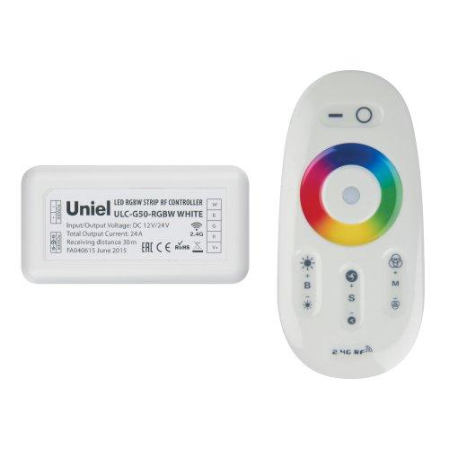 ULC-G50-RGBW WHITE Контроллер для управления многоцветным и белым светодиодными источниками света 12-24B с пультом ДУ 2.4ГГц. Цвет пульта белый.