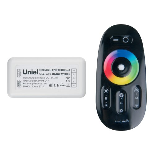 ULC-G50-RGBW BLACK Контроллер для управления многоцветным и белым светодиодными источниками света 12-24B с пультом ДУ 2.4ГГц. Цвет пульта черный.