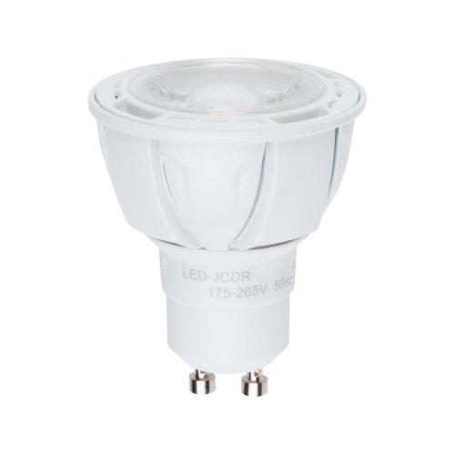 LED-JCDR-5W-WW-GU10-S Лампа светодиодная Volpe. Форма JCDR. матовый рассеиватель. Материал корпуса термопластик. Цвет свечения теплый белый. Серия Simple. Упаковка картон