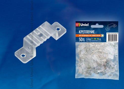 UCC-K14 CLEAR 050 POLYBAG Крепление для светодиодной ленты 220В 5050. 14-16 мм. цвет прозрачный. 50 штук в пакете
