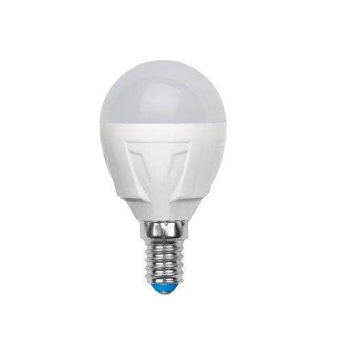 LED-G45-6W-WW-E14-FR-S Лампа светодиодная Volpe. Форма шар. матовая колба. Материал корпуса термопластик. Цвет свечения теплый белый. Серия Simple. Упаковка картон