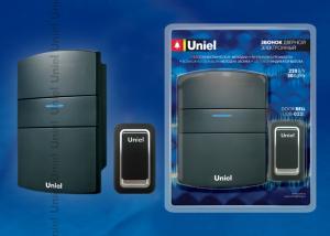 UDB-022E-R1T1-32S-BL Звонок электронный. 32 мелодии. 3 уровня громкости. Блистерная упаковка. Цвет-черный