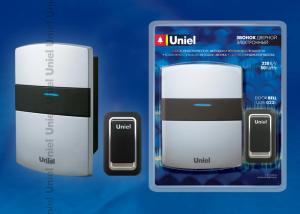 UDB-022E-R1T1-32S-SL Звонок электронный. 32 мелодии. 3 уровня громкости. Блистерная упаковка. Цвет-серебристый