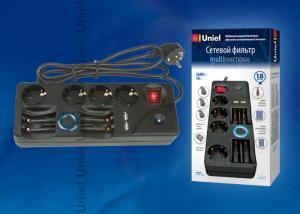 S-GSP4-1.8M Сетевой фильтр Uniel серии Multifunctional. с-з. 4 гн.. шнур 1.8 м. защита от перенапряжения. фильтр помех. термопредохранитель. з-у АА-ААА. 2хUSB