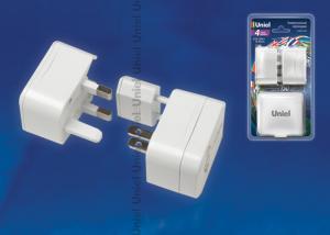 S-WA4-03W Универсальный сетевой переходник Uniel. без заземления. количество вилок 4. максимальный ток 3А. цвет белый. упаковка блистер