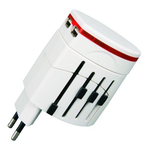 P-WA4-10WU Универсальный сетевой переходник Uniel. без заземления. максимальный ток 10А. USB интерфейс. цвет белый. упаковка блистер