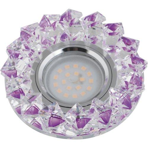 DLS-P117 GU5.3 CHROME-PURPLE Светильник декоративный встраиваемый ТМ Fametto. серия Peonia. Без лампы. цоколь GU5.3. Основание металл. цвет хром. Отделка кристалл. цвет фиолетовый.