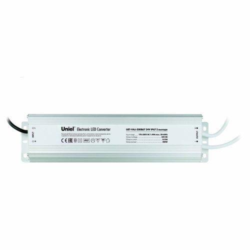 UET-VAJ-200B67 Блок питания для светодиодов с защитой от короткого замыкания и перегрузок. алюминиевый корпус. 200Вт. 24В. IP67. 2 выходных канала