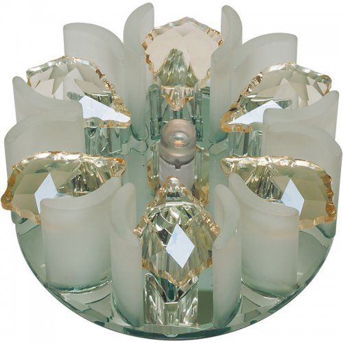 DLS-F120 G4 GLASSY-CLEAR+CHAMPAGNE Светильник декоративный встраиваемый. серия Fiore. Без лампы. цоколь G4. Стекло-стекло. Зеркальный-прозрачный+шампань. ТМ Fametto