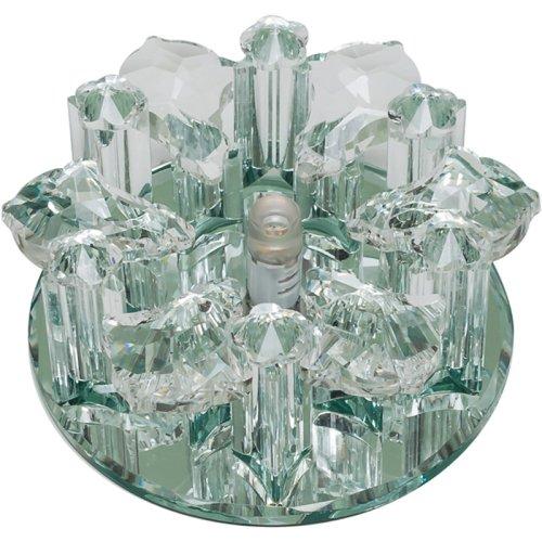 DLS-F121 G4 GLASSY-CLEAR Светильник декоративный встраиваемый ТМ Fametto. серия Fiore. Без лампы. цоколь G4. Основание стекло. цвет зеркальный. Отделка кристалл. цвет прозрачный.