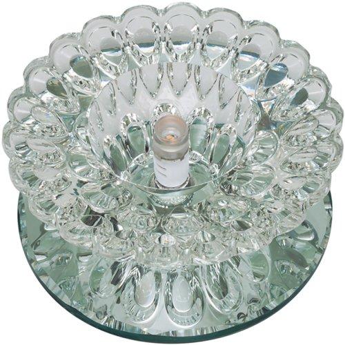 DLS-F124 G4 GLASSY-CLEAR Светильник декоративный встраиваемый ТМ Fametto. серия Fiore. Без лампы. цоколь G4.Основание стекло. цвет зеркальный. Отделка кристалл. цвет прозрачный.