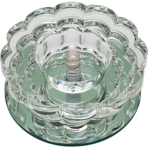 DLS-F125 G4 GLASSY-CLEAR Светильник декоративный встраиваемый ТМ Fametto. серия Fiore. Без лампы. цоколь G4. Основание стекло. цвет зеркальный. Отделка кристалл. цвет прозрачный.