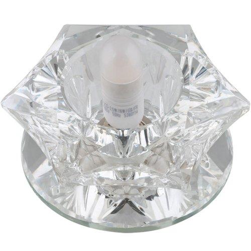 DLS-F109 G9 GLASSY-CLEAR Светильник декоративный встраиваемый ТМ Fametto. серия Fiore. Без лампы. цоколь G9. Основание стекло. цвет зеркальный. Отделка кристалл. цвет прозрачный.