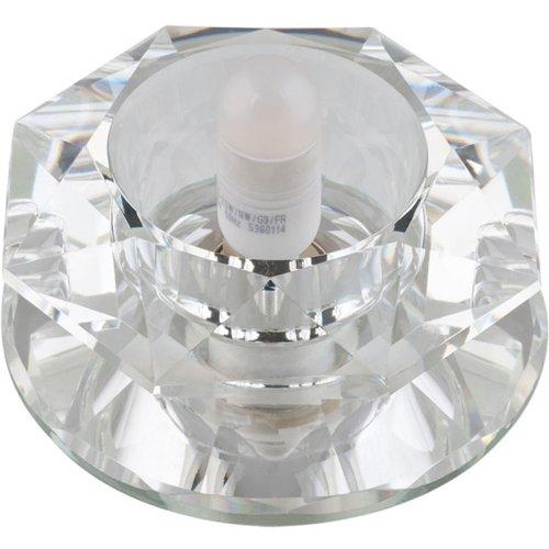 DLS-F112 G9 GLASSY-CLEAR Светильник декоративный встраиваемый ТМ Fametto. серия Fiore. Без лампы. цоколь G9. Основание стекло. цвет зеркальный. Отделка кристалл. цвет прозрачный.