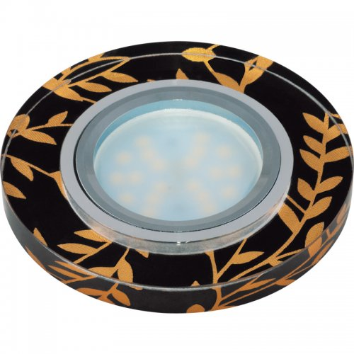 DLS-P204 GU5.3 CHROME-BLACK Светильник декоративный встраиваемый ТМ Fametto. серия Peonia. Без лампы. цоколь GU5.3. Основание металл. цвет хром. Отделка стекло с золотом на черном фоне.