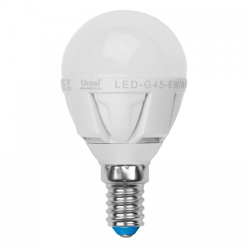 LED-G45-6W-NW-E14-FR ALP01WH Лампа светодиодная. Форма шар. матовая колба. Материал корпуса алюминий. Цвет свечения белый. Серия Palazzo. Упаковка пластик