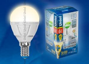 LED-G45-6W-WW-E14-FR ALP01WH Лампа светодиодная. Форма шар. матовая колба. Материал корпуса алюминий. Цвет свечения теплый белый. Серия Palazzo. Упаковка пластик
