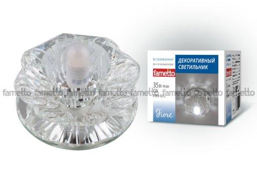 DLS-F101 G9 GLASSY-CLEAR Светильник декоративный встраиваемый ТМ Fametto. серия Fiore. Без лампы. цоколь G9. Основание стекло. цвет зеркальный. Отделка кристалл. цвет прозрачный.