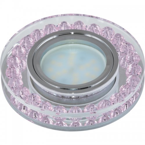 DLS-P102 GU5.3 CHROME-PINK Светильник декоративный встраиваемый. Без лампы. Металл. цвет хром. Отделка прозрачное стекло с элементами розового. ТМ Fametto.