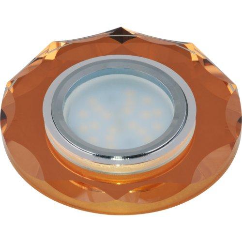 DLS-P105 GU5.3 CHROME-BRONZE Светильник декоративный встраиваемый многоугольник ТМ Fametto. серия Peonia. Без лампы. цоколь GU5.3. Основание металл. цвет хром. Отделка стекло. цвет бронза.
