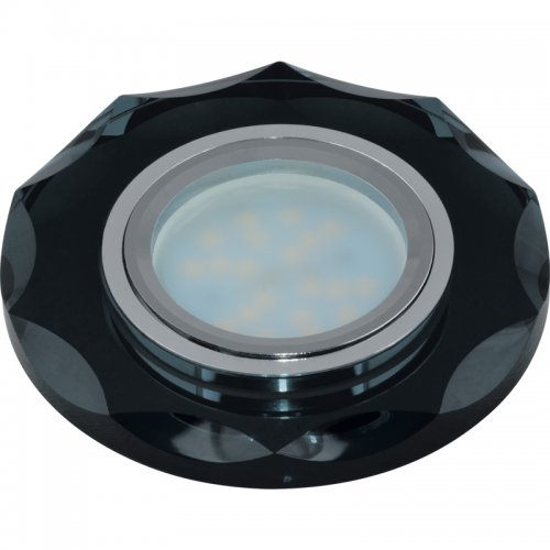 DLS-P105 GU5.3 CHROME-BLACK Светильник декоративный встраиваемый многоугольник ТМ Fametto. серия Peonia. Без лампы. цоколь GU5.3. Основание металл. цвет хром. Отделка стекло. цвет черный.