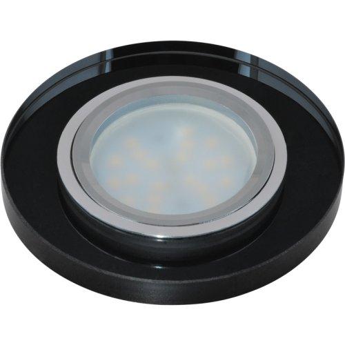DLS-P106 GU5.3 CHROME-BLACK Светильник декоративный встраиваемый ТМ Fametto. серия Peonia. Без лампы. цоколь GU5.3. Основание металл. цвет хром. Отделка стекло. цвет черный.