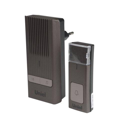 UDB-012W-R1T1-32S-150M-CH Звонок беспроводной.Электропитание для приемного устройства звонка 220В батарейка 23А для кнопки звонка. Блистерная упаковка. Цвет-шоколадный