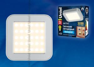 ULE-S03-3W-WW IP41 SILVER картон Светильник светодиодный накладной для интерьерного освещения. Мощность 3 Вт. Материал корпуса алюминий. цвет серебро. Цвет свечения теплый белый. Упаковка картонная коробка.