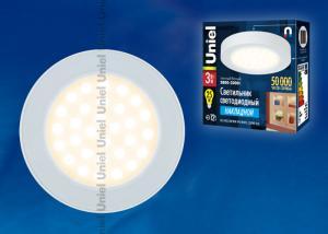 ULE-R03-3W-WW IP41 WHITE картон Светильник светодиодный накладной для интерьерного освещения. Мощность 3 Вт. Материал корпуса алюминий. цвет белый. Цвет свечения теплый белый. Упаковка картонная коробка.