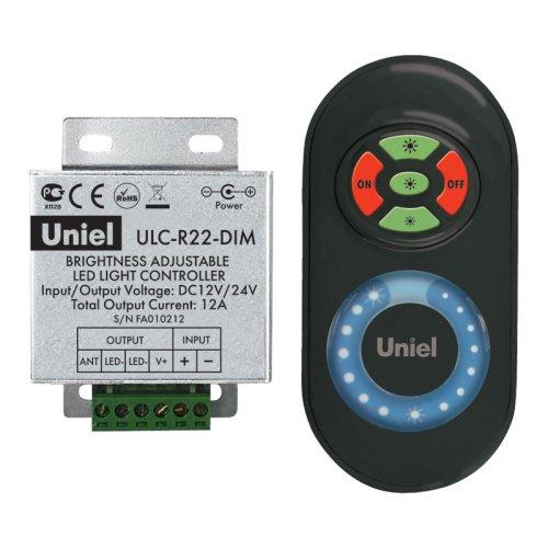 ULC-R22-DIM Black Контроллер для управления яркостью одноцветных светодиодных источников света с пультом с ДУ. Цвет пульта черный. Упаковка блистер.