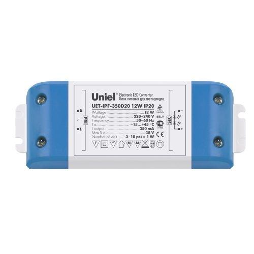 UET-IPF-350D20 Драйвер для светодиодов. пластиковый корпус. 12Вт. 350 мА. IP20