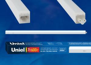 ULI-E01-10W-DW-K WHITE Светильник линейный светодиодный аналог T5. c выключателем. Дневной свет 6000K. 850Лм. Корпус белый. ТМ UNIEL.