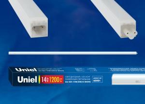 ULI-E01-14W-DW-K WHITE  Светильник линейный светодиодный аналог T5. c выключателем. Дневной свет 6000K. 1200Лм. Корпус белый. ТМ UNIEL.